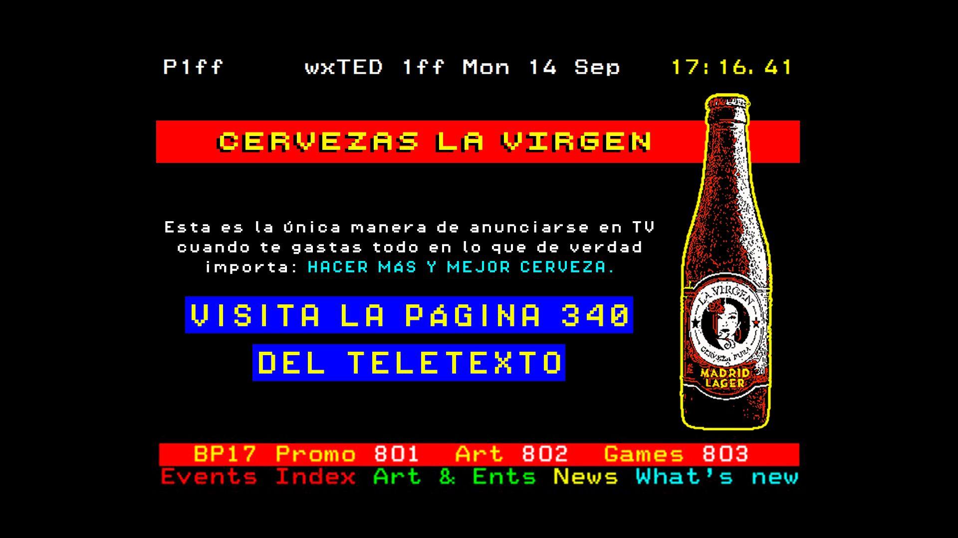La Virgen vende cerveza a través del Teletexto