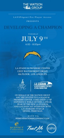 Los Angeles Chargers Linebacker Denzel Perryman to Headline VIP Real Estate Event at LA Stadium Premiere Center on July 9