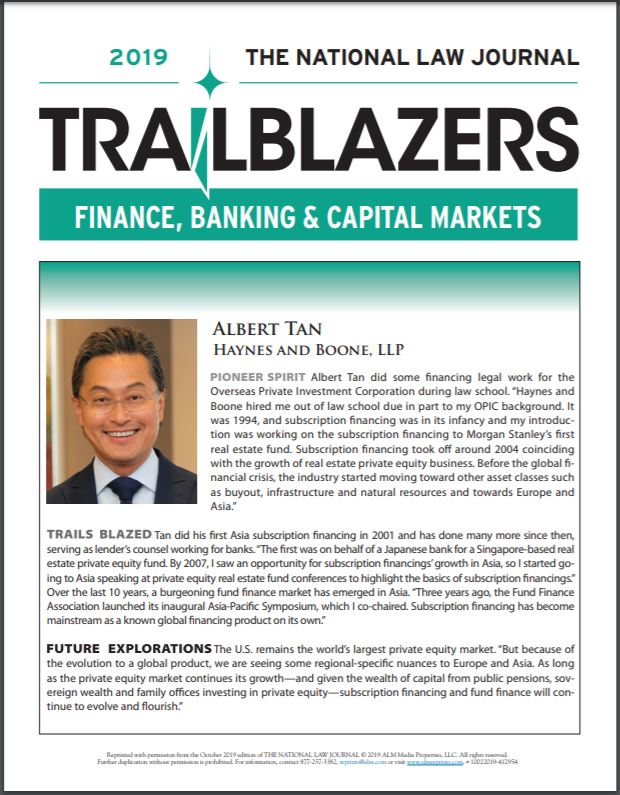 National Law Journal Names Albert Tan Among  2019 Trailblazers in Finance, Banking and Capital Markets