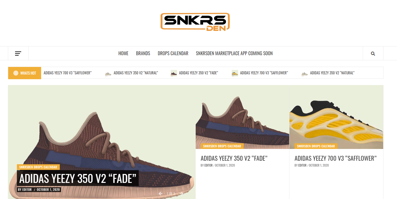a first look at the interface of the new SnkrsDen website