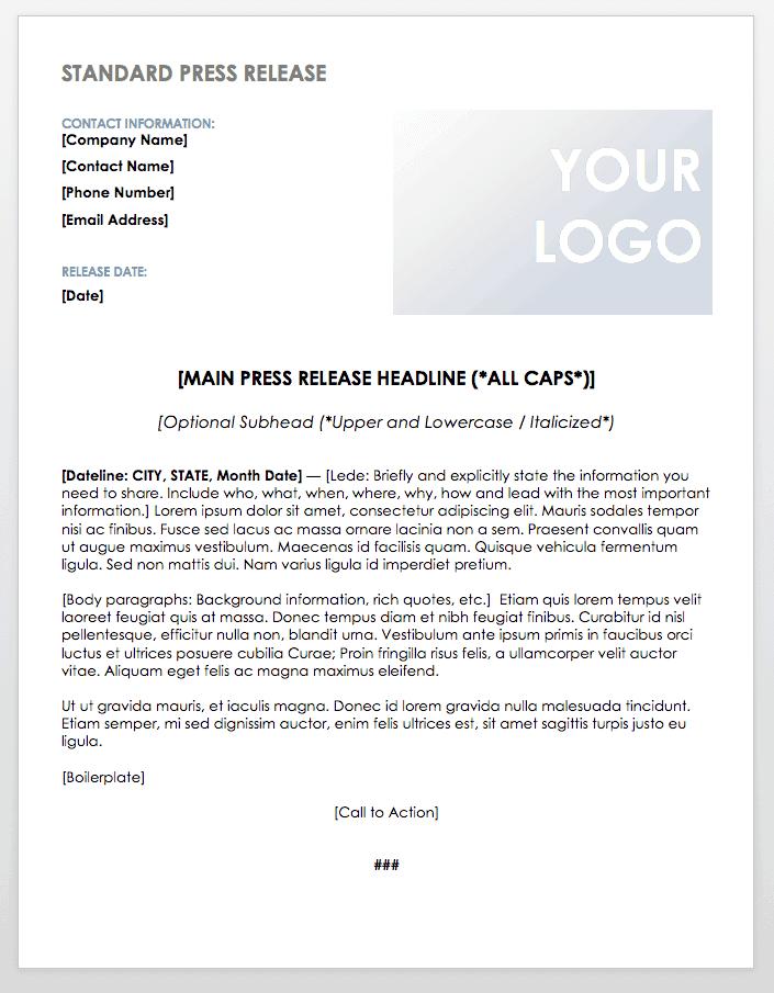 Standard Press Release Template - iCrowdNewswire