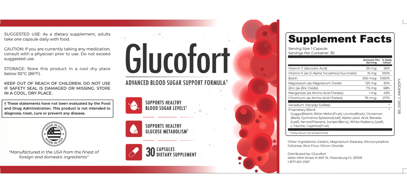 glucofort supplement label and its ingredients list